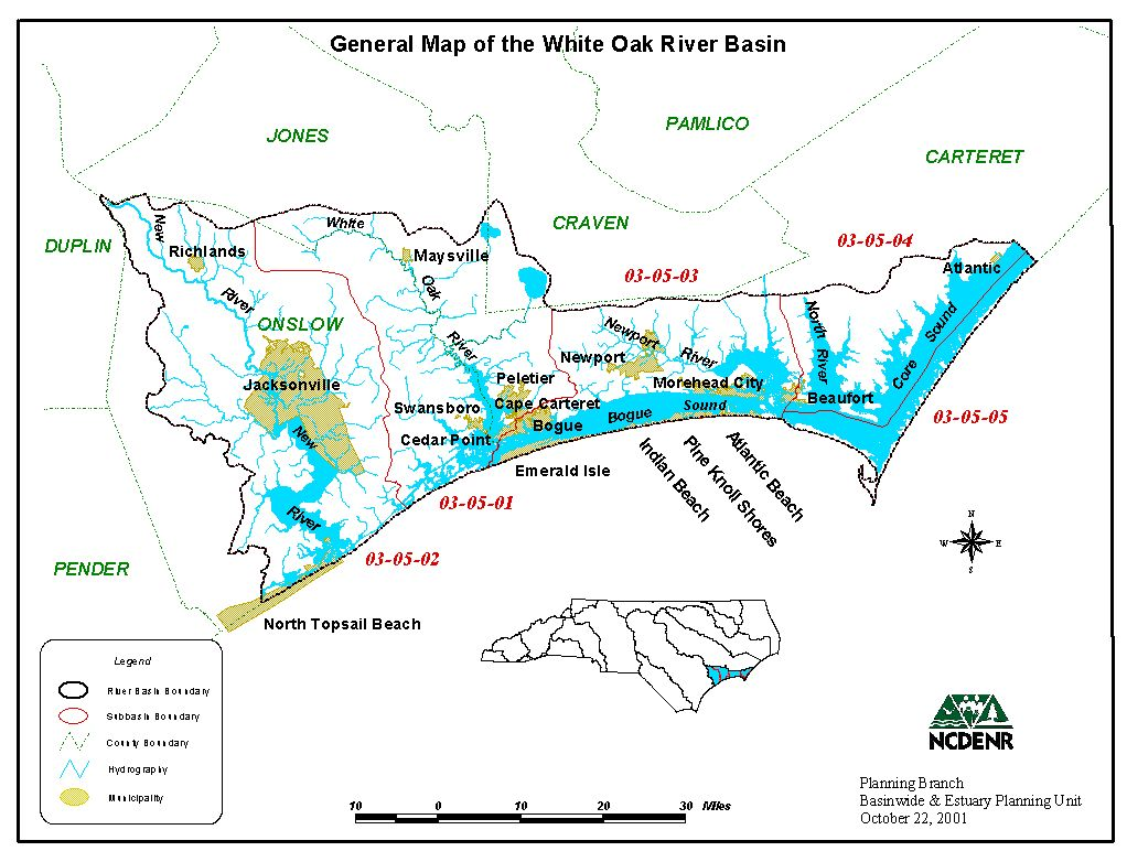 White Oak River Basin map