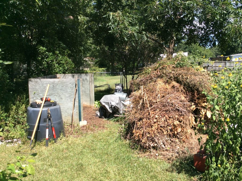 Preparing to form compost pile
