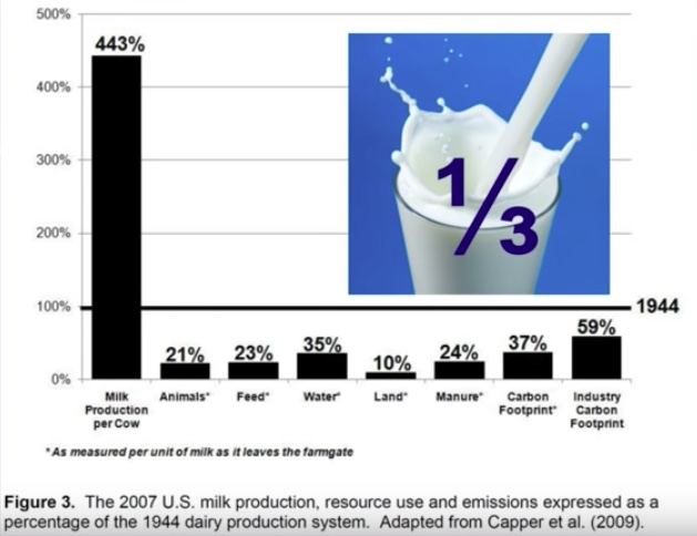 Graph showing 2007 milk production compared to 1944