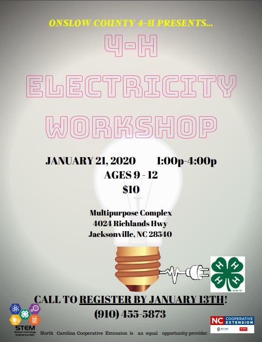 4-H Electricity Workshop flyer