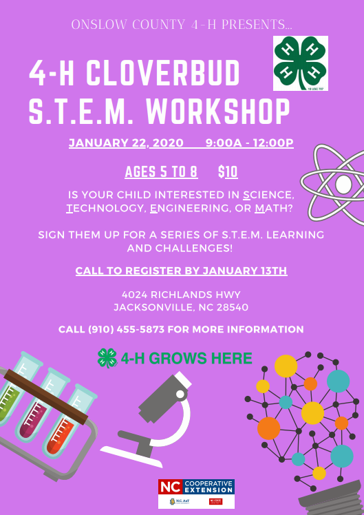 4-H Cloverbud S.T.E.M. Workshop flyer