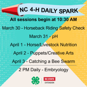 Cover photo for NC 4-H Daily Spark - Week 2 Line Up