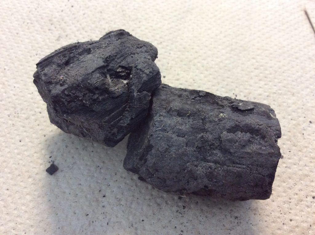 Two pieces of naturally-formed charcoal