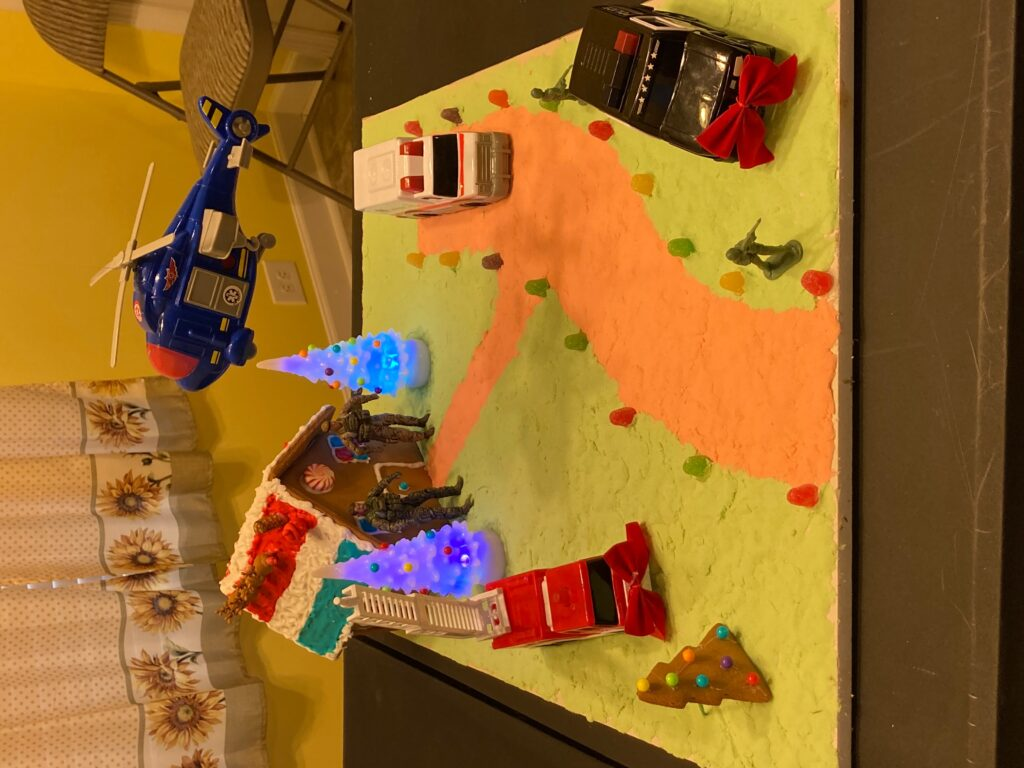 Team Brady Bunch's 'Happy Holidays House of Heroes' Gingerbread House