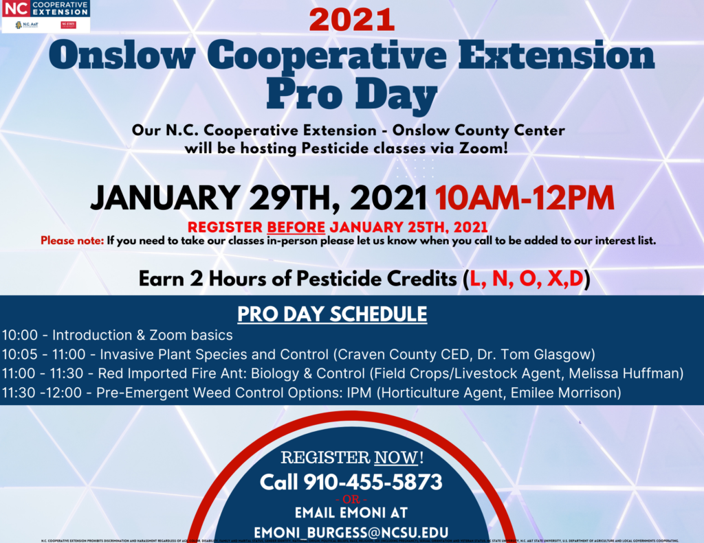 Onslow County Pro Day flyer