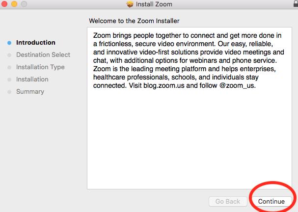 Zoom install window