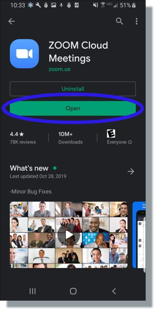Zoom Open screen