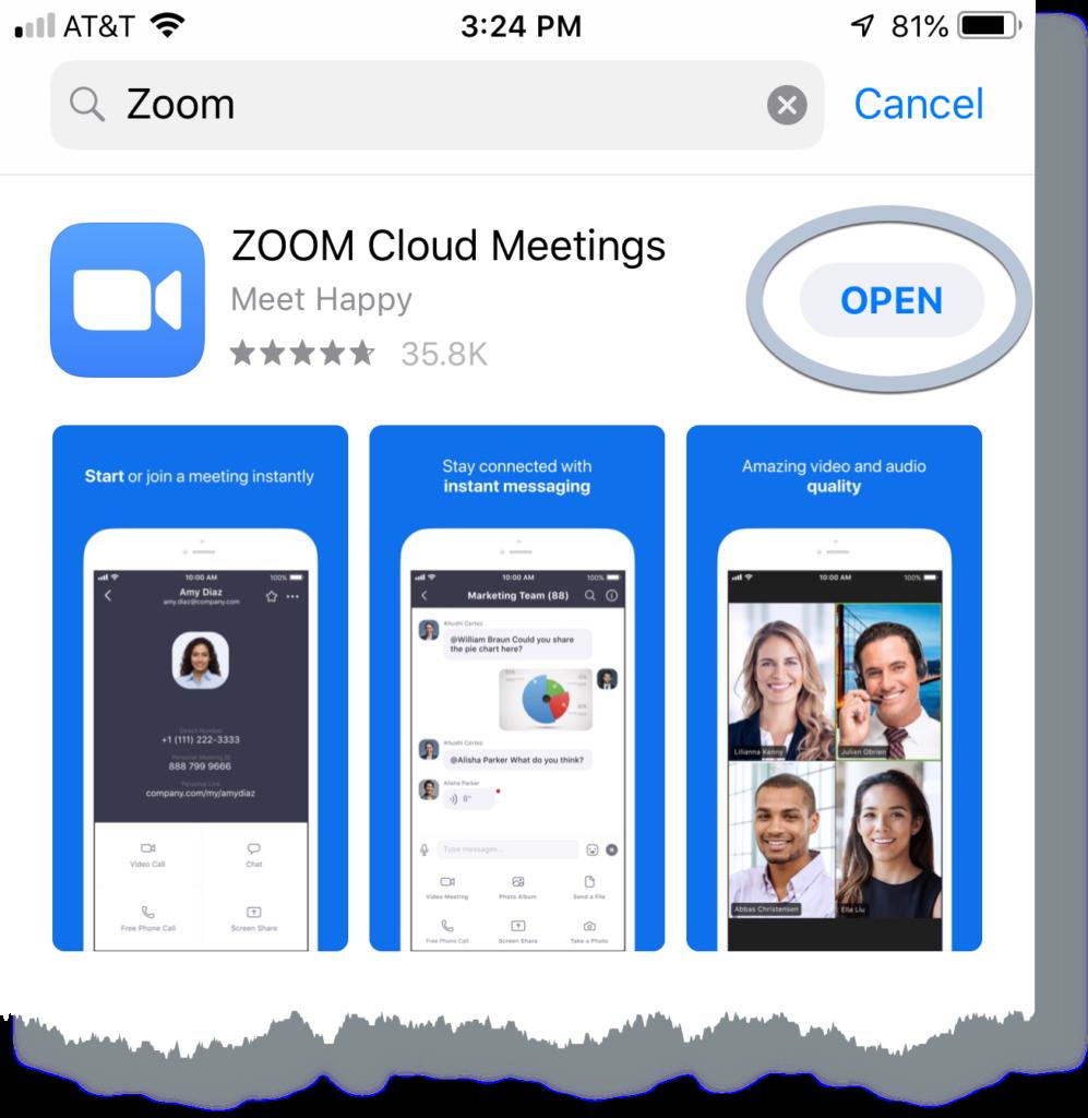 Zoom app Open