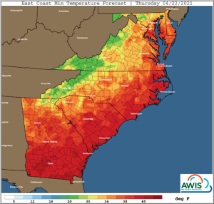 Cover photo for AWIS Weather Forecast: Frost Risk Apr 22-23