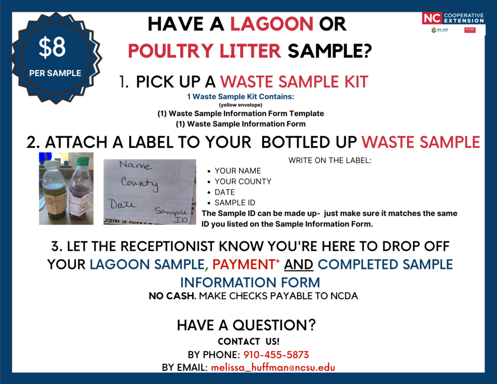 You can pick up our Waste Sample kits at our office: N.C. Cooperative Extension – Onslow County center 4024 Richlands Hwy. Jacksonville, NC MON-FRI, 8 a.m.-5 p.m. Please let the receptionist know you're here to pick up a Waste Sample Kit. Once your waste sample is completed you may drop it back off to our office for us to ship to Raleigh for your results. Question: What is a completed waste sample? Answer: A completed waste sample is your (labeled) bottled up lagoon sample or your (labeled) bagged up litter sample(s) and yourcompleted sample information sheet and payment. **EACH SAMPLE MUST HAVEYOUR NAME, YOUR COUNTY, DATE, and SAMPLE ID WRITTEN ON IT** You can log up to 6 samples on one sample information sheet. Any additional need to be logged on another copy of the sample information sheet.